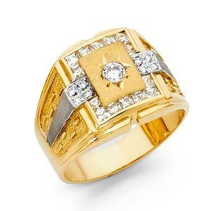 14K Yellow Gold Cubic Zirconia Men's Ring